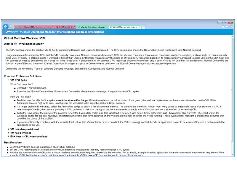 VMware vCOPS advice recommendations screenshot