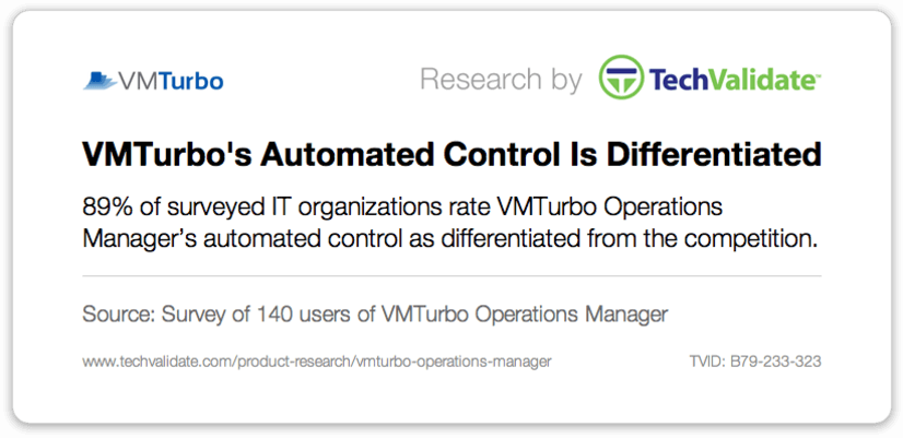 VMTurbo's Automated Control is Differentiated
